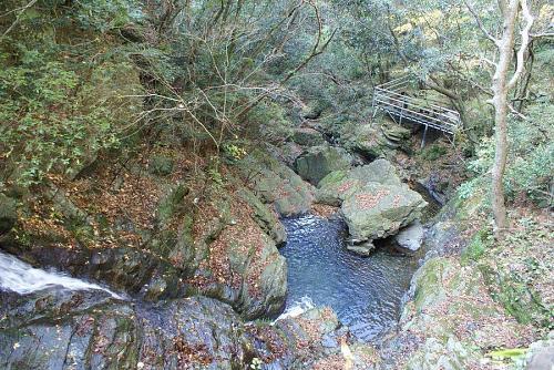 滝の上からの滝つぼ