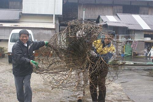 雨の中下分のアトリエからカズラの作品を搬入。