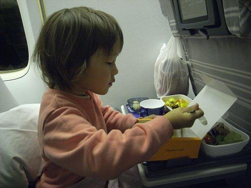 空の旅にすっかり慣れているソフィー。機内食パクパク。