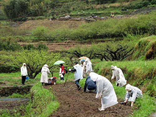 人海戦術で石ころの除去。これほど多人数が固まって農作業をする・・・。この地区ではあまり目にしない光景ではないでしょうか。でも、やっぱり、人が居るって、スゴイこと! (注)赤いブルゾンの女性は、神山のアマチュア写真家麻空弘美さん。農援隊の皆さんともお知り合いです。