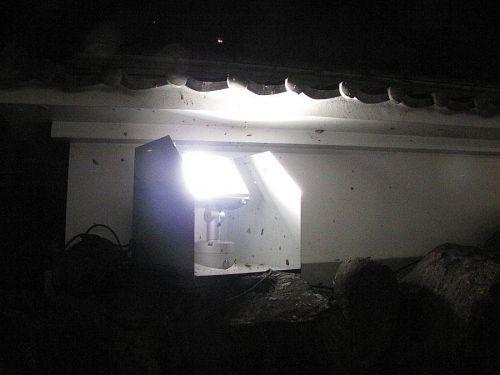 工事用の投光機に比べてライトがコンパクトだったので、明るさは?でしたが、杞憂に終わりました。威力抜群です!(2009年4月21日21:02撮影)