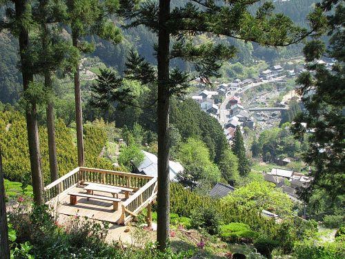 満開近い小西さん手づくりの展望台。ここからは、川又の町筋や遠くの山並みがきれいに見えます。(2009年4月29日09:49撮影)