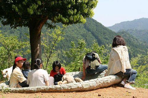 カリンの「神山のための文化大混浴(?)」で森林浴・・・。(写真提供:玉利康延氏)