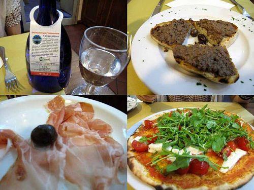 フリザンテ(ミネラル発泡水)、レバー風味のクロスティーニ、トスカーナ産生ハム、ピッツァ(マルゲリータ)。二人とも飲めないので、アルコールは抜き!佐藤さんに言わせれば「罪悪」なんでしょうねぇ、イタリアに来てワインを飲まないなんて・・・(笑)