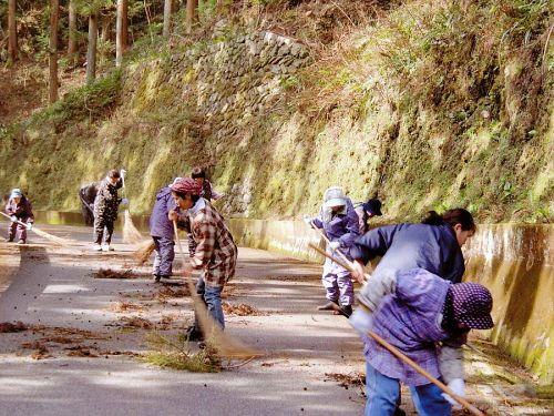 「菜の花ウォーク」を前に、集落に向かう町道をホウキ掃きする江田地区の裏方さんたち。