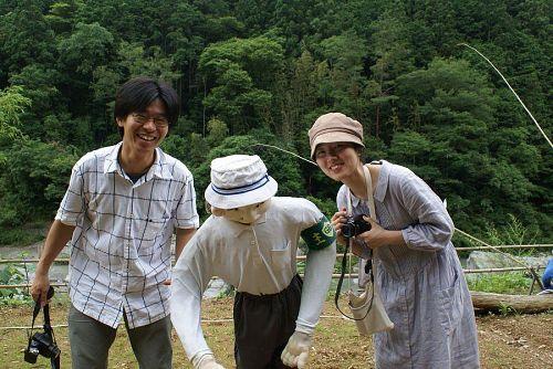 小野先生と前田さん。阿川のカカシにびっくり。