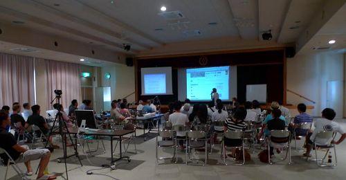 第1回特別講演・日本テレビ土屋敏男氏「テレビとツイッター、T部長が語る!」の様子