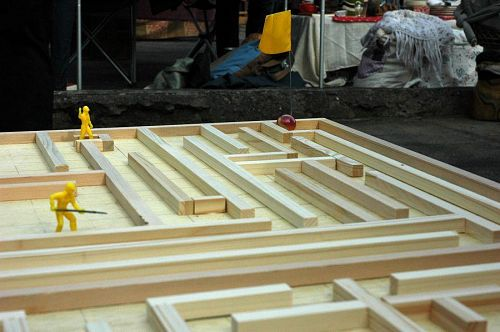 A labyrinth about the size of a ping-pong table! Lots of fun.