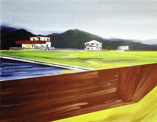 """Charlotte Brisland """"De Stijl Landscape[Japan]風景の様式[日本])"""" 120×150cm 油彩・キャンバス"""
