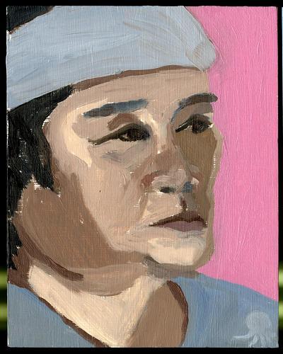 リズ画伯が描いたたこビンさんのポートレイト。本人によれば西田敏行似