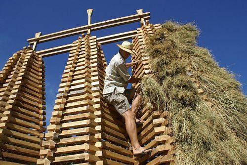高い塔に登りわらをかける作業は大変です。