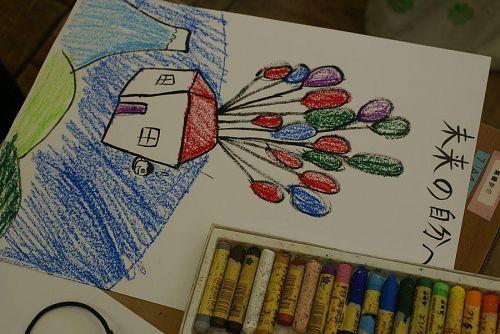 子どもたちはいろんな未来への移動手段を絵にしました。