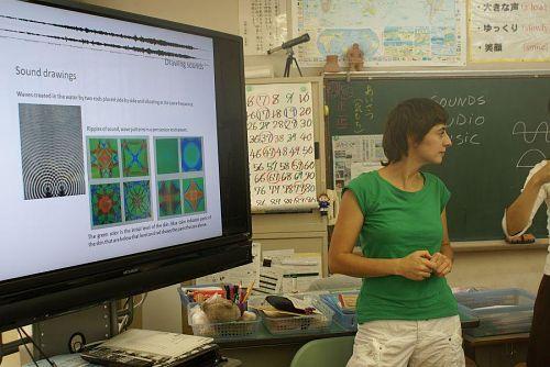 マリーナさん、広野小学校で課外授業。